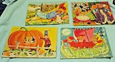 FOUR SIFO CO Cardboard Frame Tray Puzzles From 1960's Nursery Rhyme