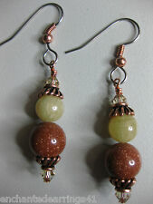 Goldstone and Honey Quartz Dangle earrings with Copper Accents