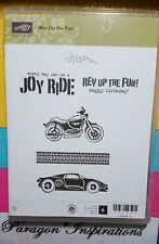 NEW Stampin Up Clear Mount REV UP THE FUN Masculine Birthday Motorcycle Car
