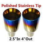 """2X 2.5"""" In 4"""" Out Blue Burnt Exhaust Duo Layer Straight Tip Polished Stainless"""