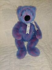 VINTAGE 1999 TY Blue/Pink Cotton Candy Colored Teddy Bear With Silver Bow 15""