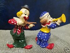 2 VTG HARD PLASTIC Music Circus CLOWNS CLOWN PLAYING VIOLIN Trumpet Figurines