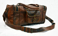 "23"" Vintage Leather Weekend Travel Duffle Bag Sports Gym HoldAll Luggage Handbag"