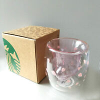 Cat Paw Cup Coffee Mugs Sakura Glass Mug Double Walled for Starbucks with Box