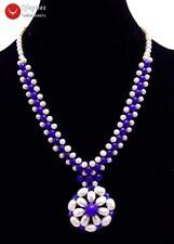 5-6mm White Pearl & Blue Jade 35-40mm Pendant Handwork Weaving Necklace Women