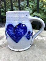 "Vtg ROWE POTTERY salt glazed blue stoneware LARGE MUG tankard / stein HEART 4.5"""