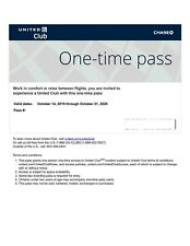 United Airline Club One Time Pass EXP 10/21/2020-Quick-E-Delivery only