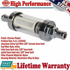"Universal Aluminium Fuel filter ​Petrol clear view inline 3/8"" chrome hose barb"