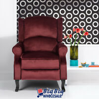 Recliner Chair Arm Chair Seat Manual Push Back Sofa Couch Living Room Lounge