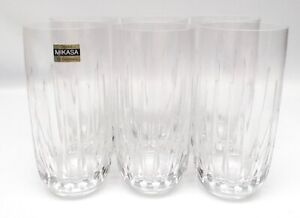 "Mikasa Crystal Plaza Suite Set of 6 Highball Glasses Tumblers 5 3/4"""