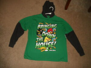 Angry Birds Kids Long Sleeve Hoodie T-Shirt Youth L 14/16 100% Cotton