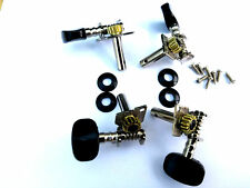 SET OF FOUR UKULELE OR BANJO MACHINE HEAD TUNERS BLACK BUTTONS