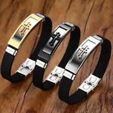 "Cuff Bracelet Cross Rubber Bracelets Men Women Prayer Bangle 8"" Armhand Jewelry"