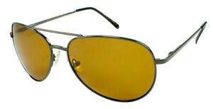 Fly-Def Hi-Def Polarized Sport Fishing Gold Lens Gunmetal Aviator sunglasses