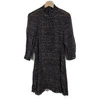 H&M Womens Shift Dress Size US 6 AU 10 Black Cream 3/4 Sleeve