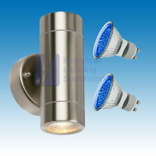 BLUE LED OUTDOOR UP & DOWN WALL LIGHT PORCH GARDEN GU10 IP44 STAINLESS STEEL