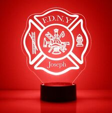 Fire Department Shield LED Nightlight Lamp with Personalized Name, Badge Number