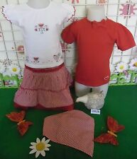 vêtements occasion fille 2 ans,jupe,tee-shirt,fichu