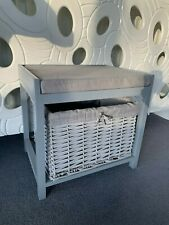 Grey Wooden & Wicker Small Storage Footstool Cushion Seat Drawer Bedroom Tidy -