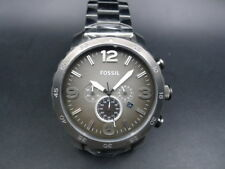 New Old Stock -FOSSIL NATE JR1437 - Gray Dial Gunmetal Stainless Steel Men Watch