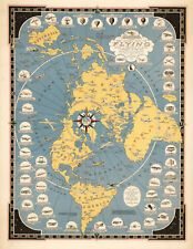 1942 Flat Earth Map Story of Flying Polar Azimuthal Equidistant Projection Print