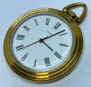 Vintage Timex Gold Tone Open Face Hand-Wind Up Mechanical Pocket Watch Hours~Run