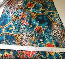 LYCRA  4W SUPER STRETCH TEAL-GOLD-RED LEOPARD MIX PRINT NEW