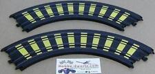"Tyco Mattel (2) 9"" Radius 1/4 Circle Stripe Deco Curved Slot Car Track B5831Y"