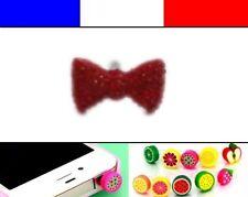 Cache anti-poussière jack universel iphone capuchon bouchon Noeud Rouge