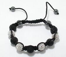 Adjustable 10mm Black and Clear Crystal Disco Ball Macrame Hip Hop Bracelet