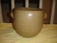 Portugal Stoneware Pottery Bowl Ear Handles Beige White Interior Stamp Bottom