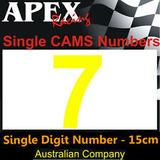 CAMS Window Number 7 Sticker - Single Number 15cm - Race Rally Drift - Yellow