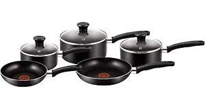 Tefal 5 Piece Essential Saucepan Set Non-stick Frypan Pots & Pans Set