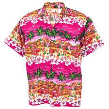 Hawaiian Shirt Aloha Chaba Car Hut Isle Holiday Sea Beach Pink S ha255p