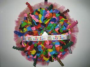 "Luxury Balloon Birthday Wreath decoration, multicolour balloons and ribbon 15"""