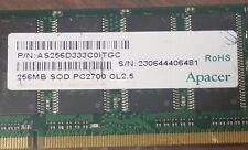 APACER 256MB  PC2700  DDR-333MHZ SODIMM LAPTOP RAM LOW DENSITY  AS256D333C0ITGC