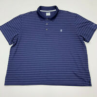 Izod Golf Polo Shirt Mens XXL Blue Stripe Short Sleeve Casual Polyester 2XL