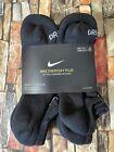 Nike Everyday Plus No-Show Socks 6 Pack Cushioned Men 8-12 Women's 10-13 Black