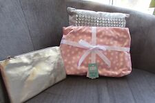 Set of 2 Large Pink Spotty & Gold zipped Cosmetic Bags Card Factory new
