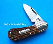 Small Lockback Pocket Knife Peach Seed Bone handles - 440 Steel