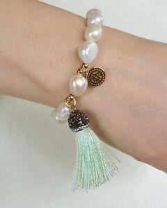 I CANDI Rocks designer statement beautiful pearl bracelet, neon tassel, green