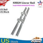 SBR20 200-2200mm Linear Slide Rail Guide Shaft Rod with 4Pcs SBR20 Bearing Block