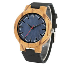 Natural Wooden Watch Leather Band Handmade Men Analog Quartz Watches