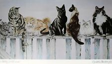 Cynthia Mackenzie Lithograph Waiting For The Moon / Cats Circa 1980's