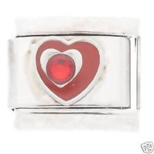 Red Heart & Crystal - Steel La Cima JSC Italian Charms fit classic size bracelet