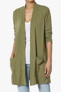 TheMogan S~3X Casual 3/4 Sleeve Slouchy Pocket Jersey Knit Open Front Cardigan