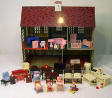 VTG 1948 TIN LITHO DOLL HOUSE WOOLWORTH 50pc+ FURNITURE RENWAL PLASCO MINIATURES