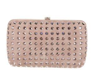 GUCCI Swarovski Crystal Broadway Box Clutch Purse Handbag EXCELLENT Gold GG
