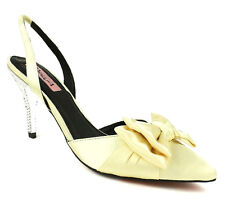 Nytha French Silk Gold Blue Pump Pointy Toe Stiletto Heel Women's shoe with bow