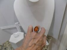 Vintage Baltic Amber Ring 925 Sterling Silver Oval Cabochon Leaves Size 5